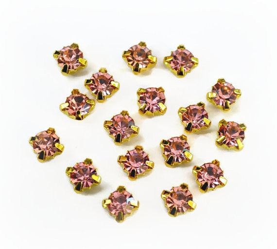 5mm Sew on Pink Glass Rhinestones