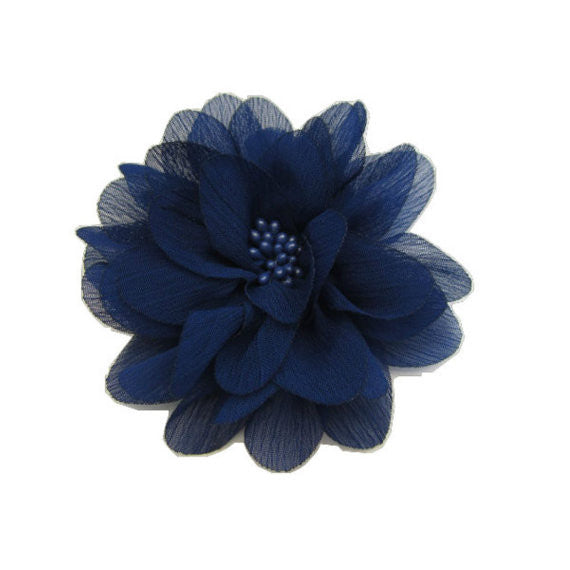 Dark Royal Blue Chiffon Flower. Isla Collection