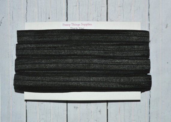 Bulk Black Foldover Elastic, 25 Yards. 5/8""