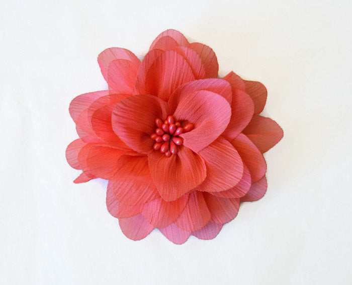 Coral Chiffon Flower. Isla Collection