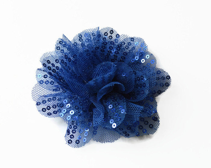 "Royal Blue Sequin and Tulle Flowers. 3.5"" . Noelly Collection"