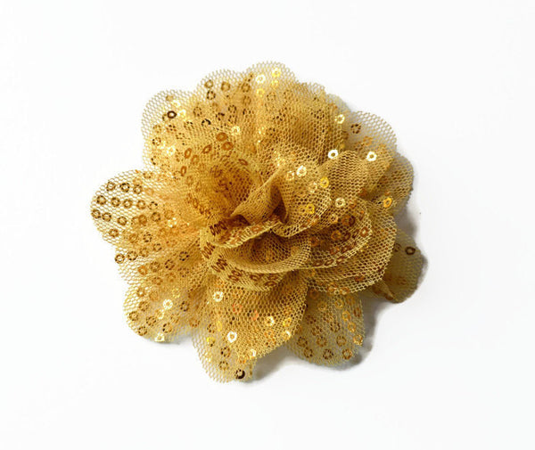 "Gold Sequin and Tulle Flowers. 3.5"" . Noelly Collection"
