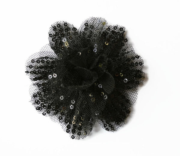 "Black Sequin and Tulle Flower. 3.5""  . Noelly Collection"