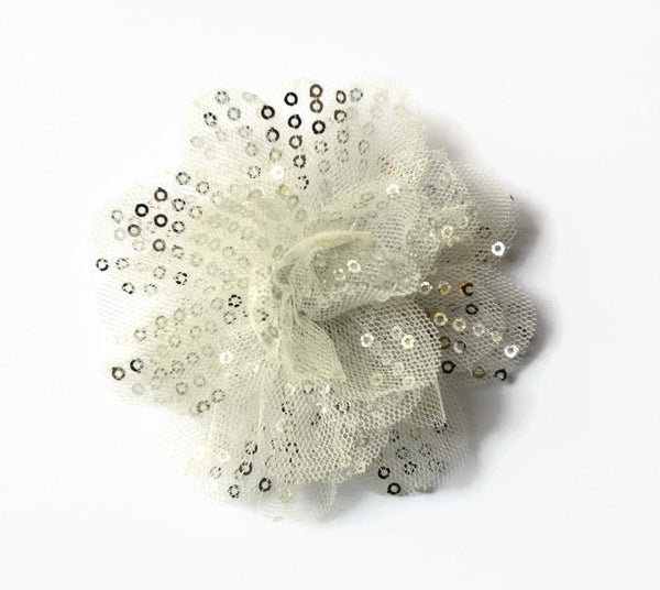 "White/ Silver Sequin and Tulle Flowers. 3.5"" . Noelly Collection"