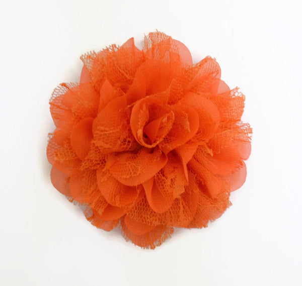 Orange Chiffon and Lace Flower. Siobhan Collection
