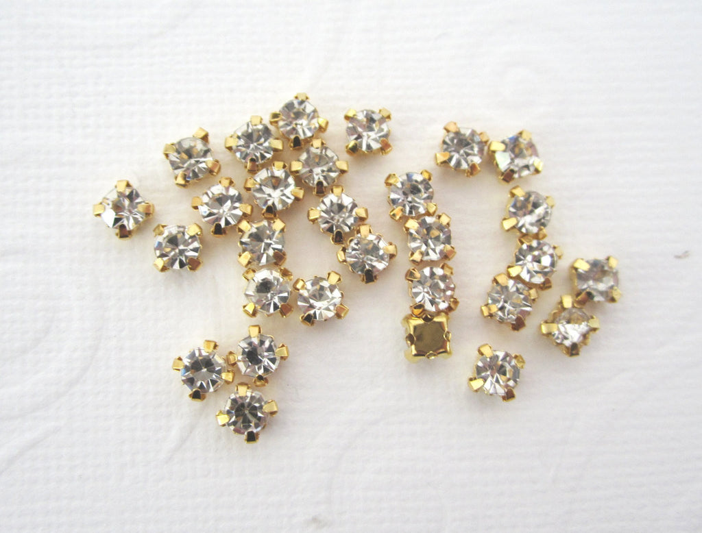 3mm Gold Sew on Rhinestones
