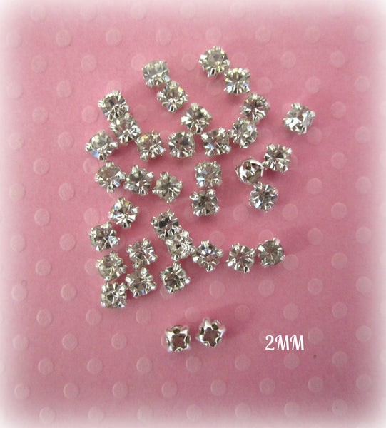 2mm Sew on Glass Rhinestones