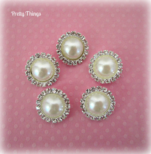Ivory Pearl and Rhinestone Button