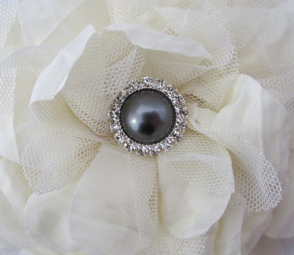 Dark Gray Pearl and Rhinestone Button