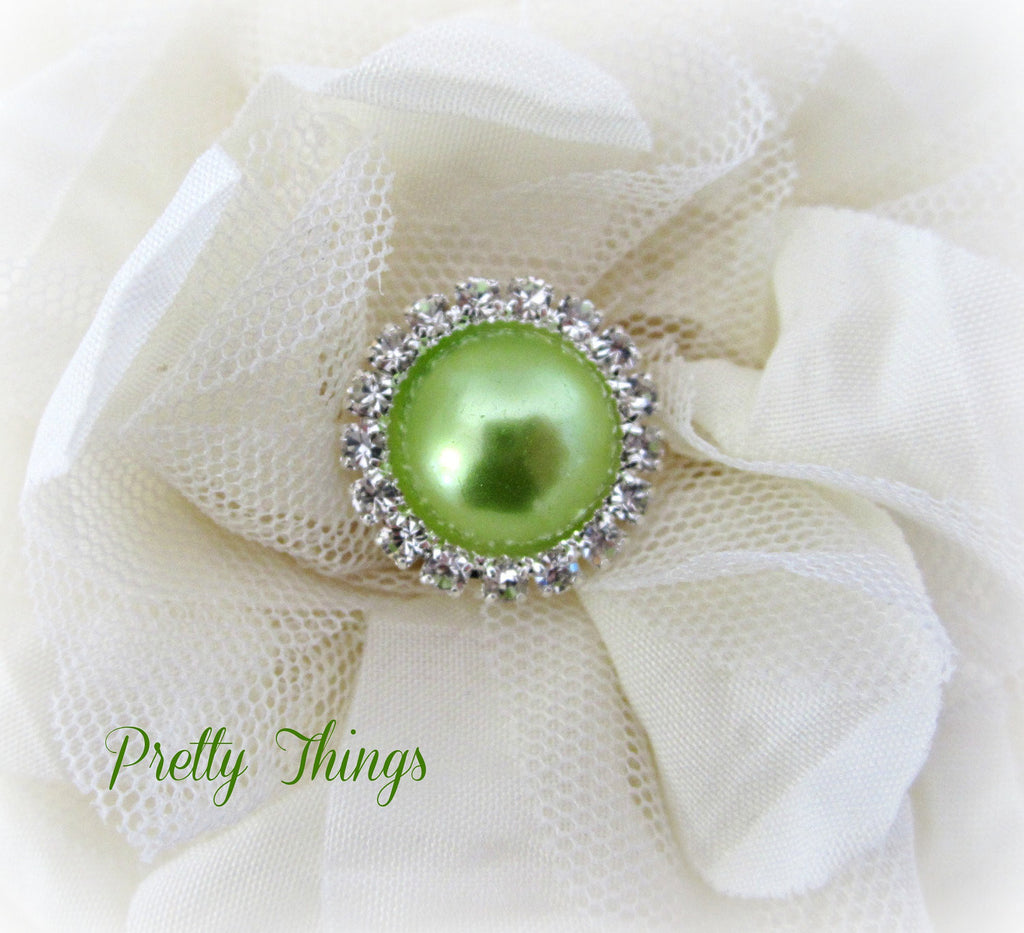 Light Lime Pearl and Rhinestone Button