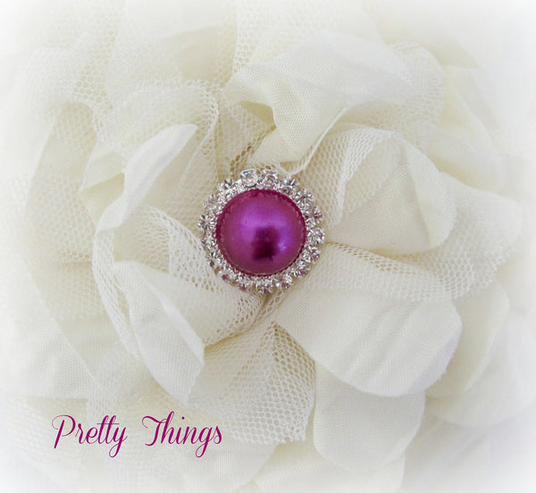 Fuchsia Pearl and Rhinestone Button