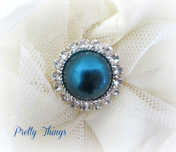 Teal Pearl and Rhinestone Button