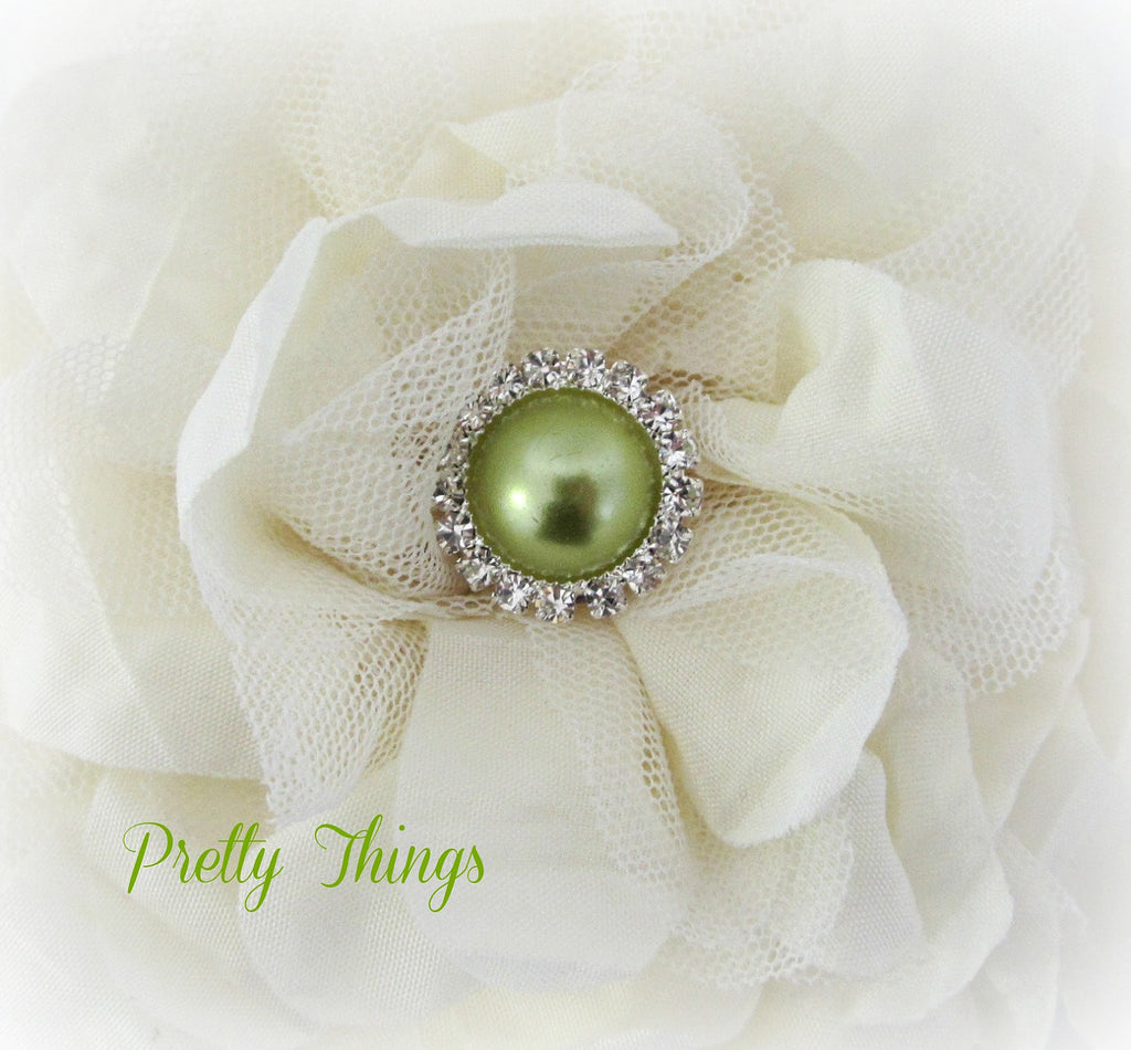 Light Olive Green Pearl and Rhinestone Button