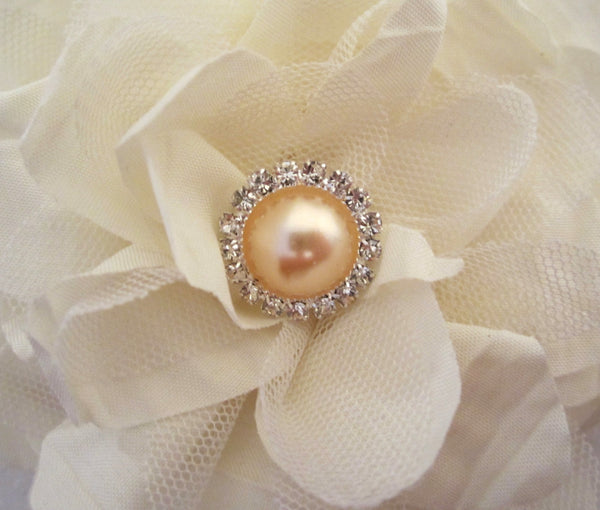 Champagne Pearl and Rhinestone Button