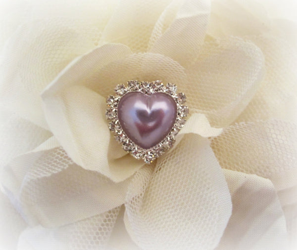 Light Purple Pearl and Rhinestone Heart Buttons.