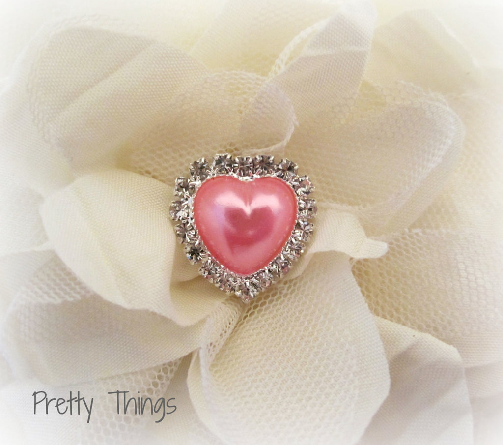 Pink Pearl and Rhinestone Heart Button.