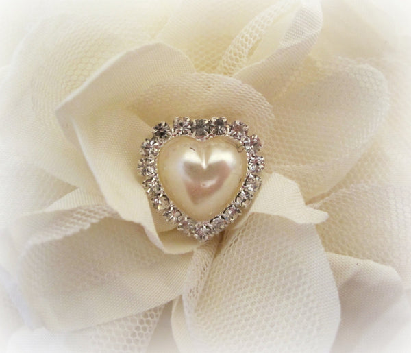 Ivory Pearl and Rhinestone Heart Buttons