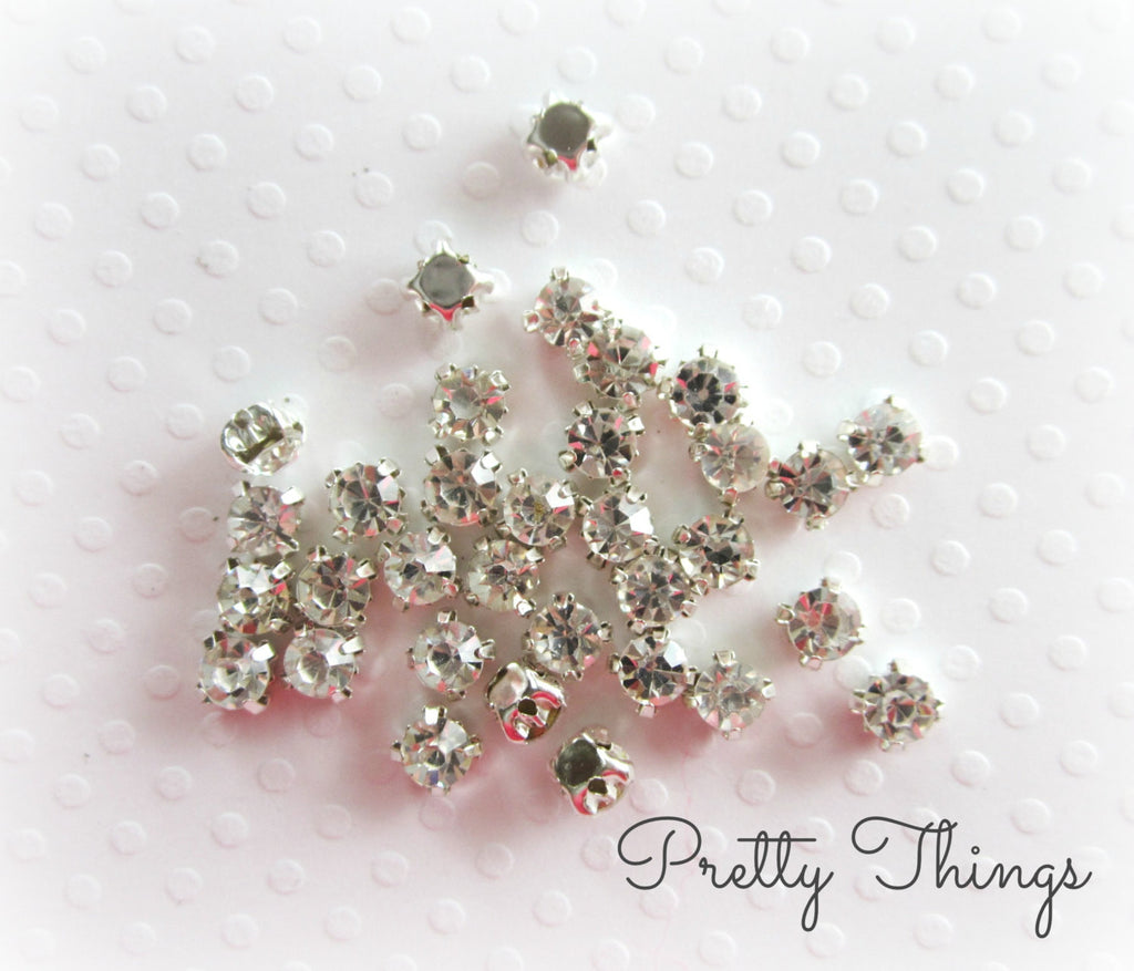 4mm Sew on Glass Rhinestones
