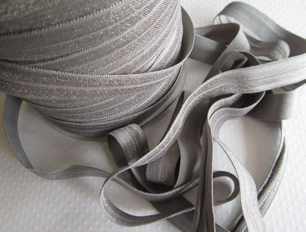 "5/8"" Gray Fold Over Elastic"
