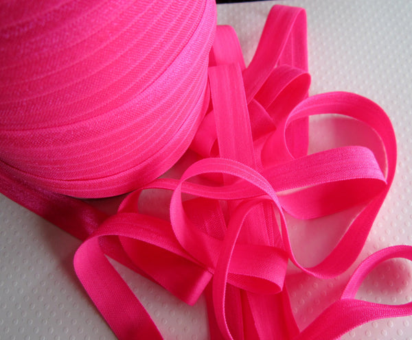 "5/8"" Neon Pink Fold Over Elastic"