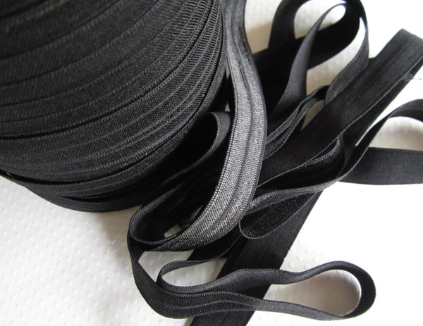 "5/8"" Black Fold Over Elastic."