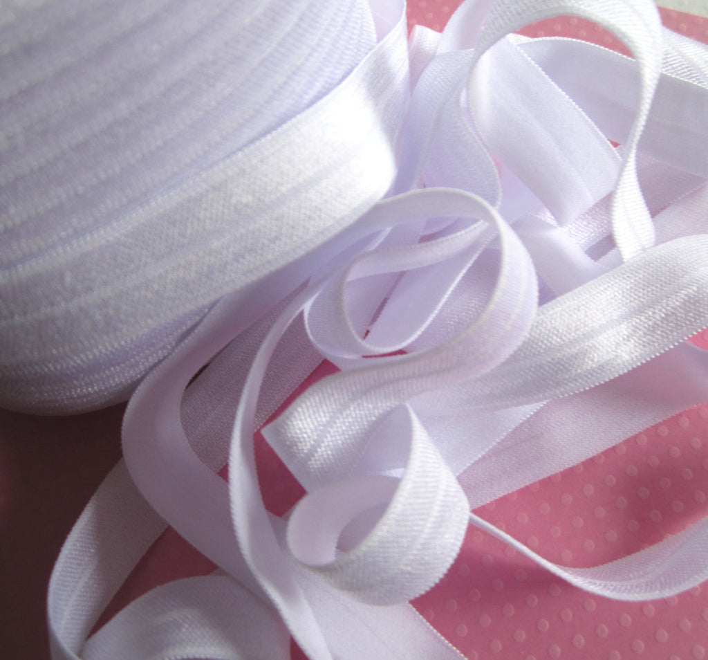 "5/8"" White Fold Over Elastic"