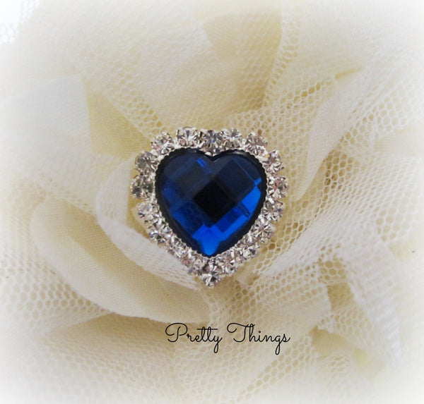 Blue Heart Acrylic Gem Button
