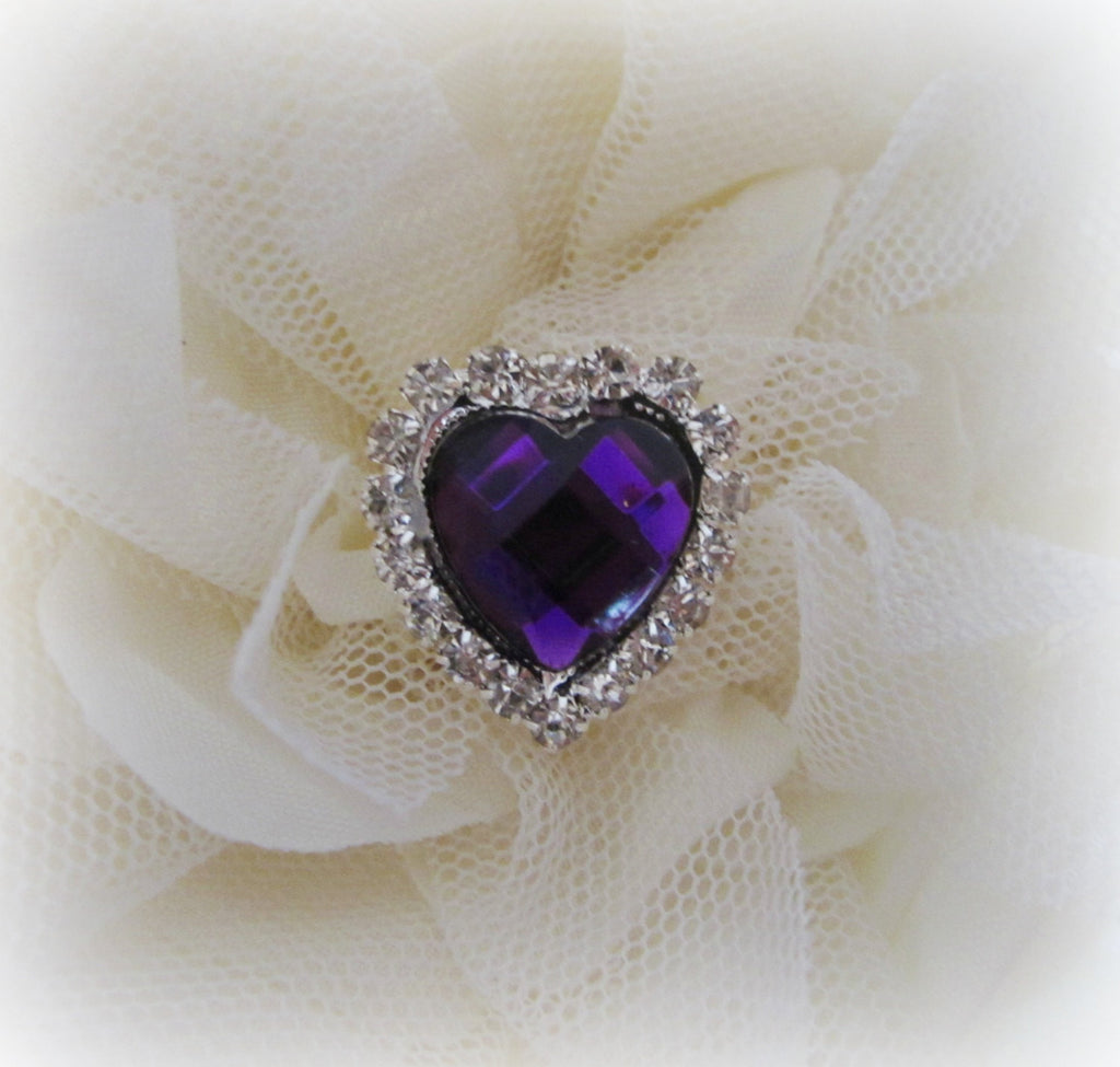 Purple Heart Acrylic Gem Button