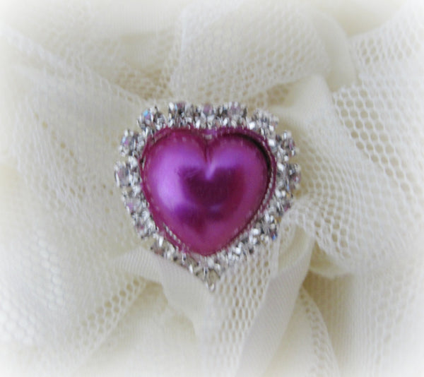 Fuchsia Pearl and Rhinestone Heart Button.