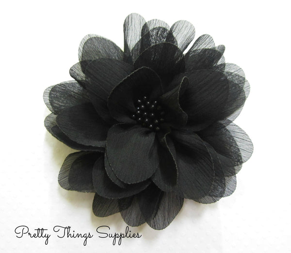 Black Chiffon Flower. Isla Collection