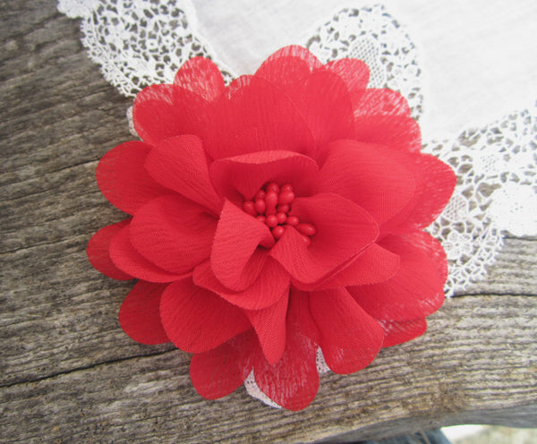 Red Chiffon Flower. Isla Collection