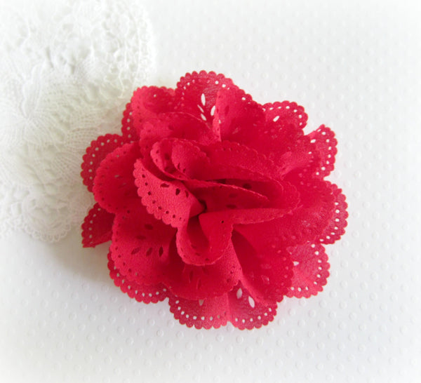 "3"" Red Eyelet Flower. JESSAMY Collection"