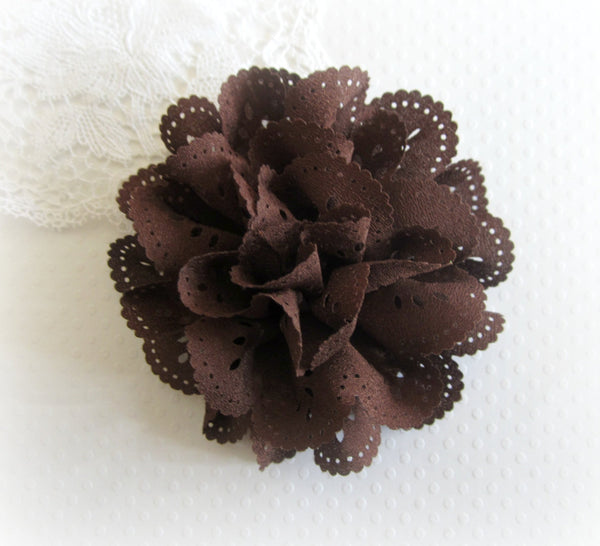 "3"" Brown Eyelet Flower. JESSAMY Collection"