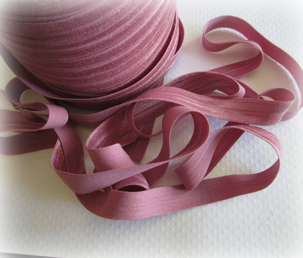 "5/8"" Rosey Pink Fold Over Elastic"