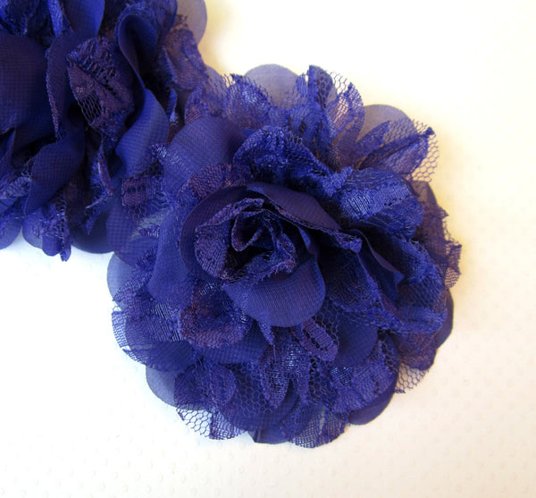 Dark Purple Chiffon and Lace Flower. Siobhan Collection