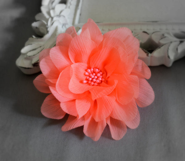 Neon Coral Chiffon Flower. Isla Collection