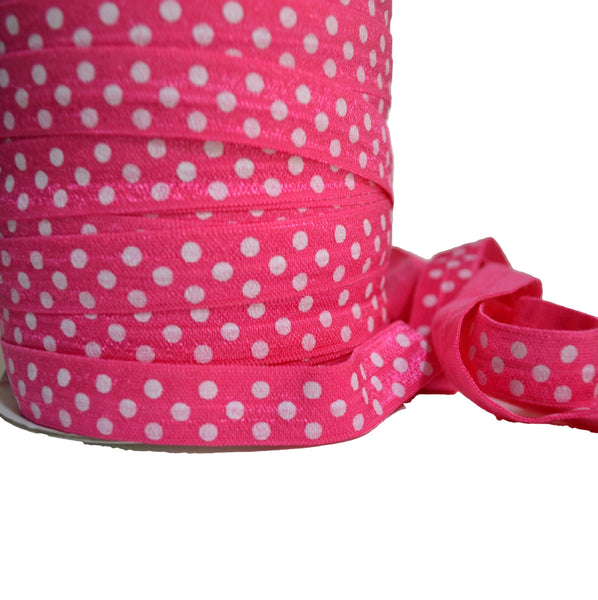 "5/8"" Bright Pink Polka Dot Fold Over Elastic"