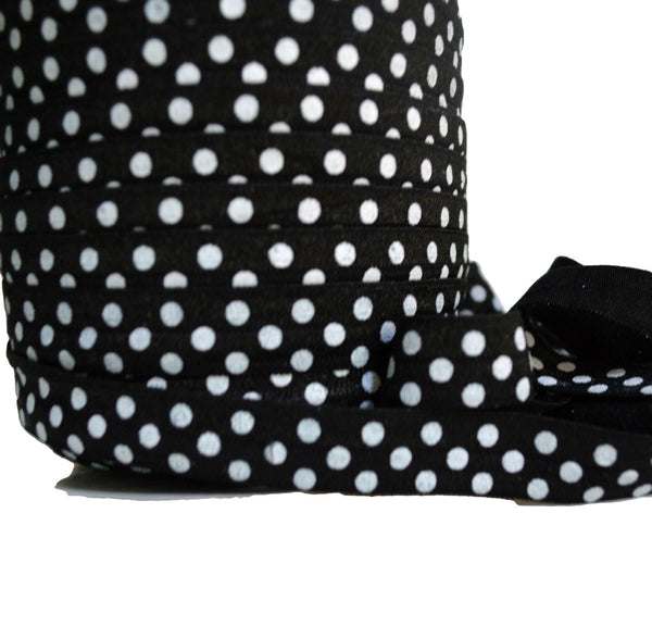 "5/8"" Black Polka Dot Fold Over Elastic"