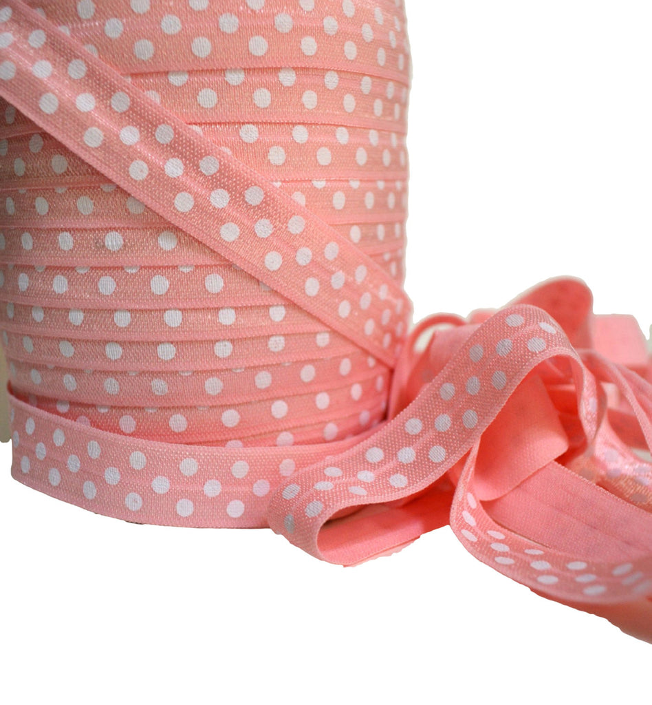 "5/8"" Light Pink Polka Dot Fold Over Elastic"