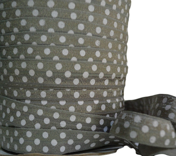 "5/8"" Gray Polka Dot Fold Over Elastic"