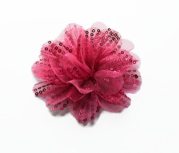 "Hot Pink Sequin and Tulle Flowers. 3.5"" . Noelly Collection"