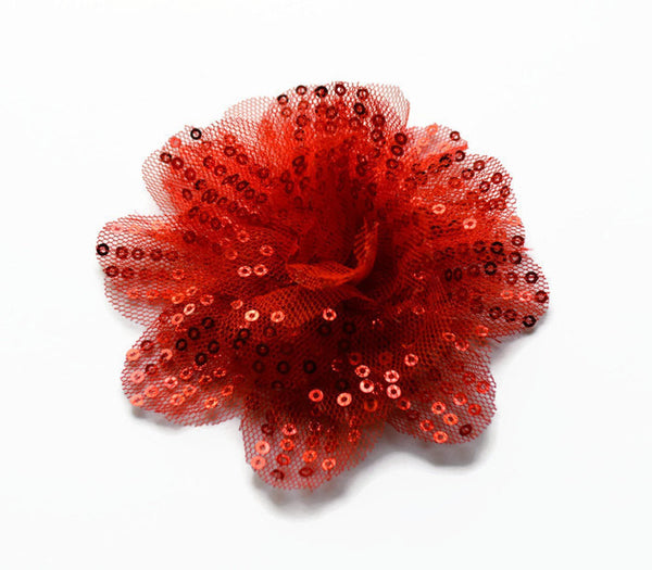 "Red Sequin and Tulle Flowers. 3.5""  . Noelly Collection"