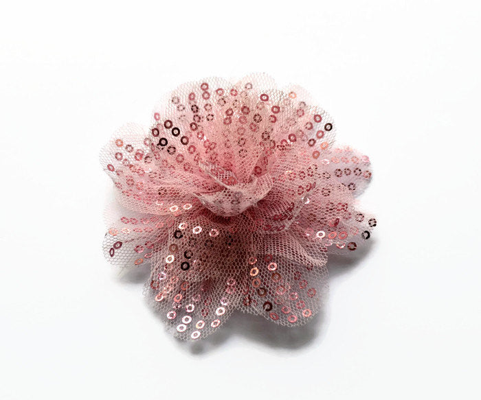"Pink Sequin and Tulle Flowers. 3.5"". Noelly Collection"
