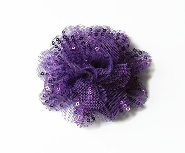 "Purple Sequin and Tulle Flowers. 3.5"" . Noelly Collection"