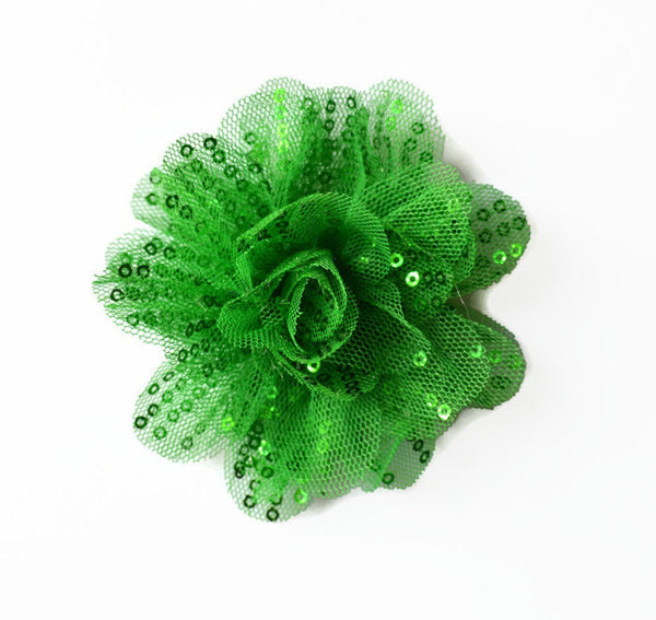 "Green Sequin and Tulle Flowers. 3.5"" . Noelly Collection"