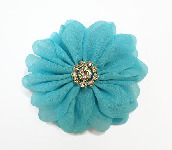 "3"" Blue Chiffon Flower. Brea Collection"