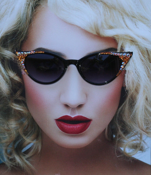 Black Cat Style Sunglasses with Peach & Topaz Colored Swarovski Crystals - Sunglass Shenanigans