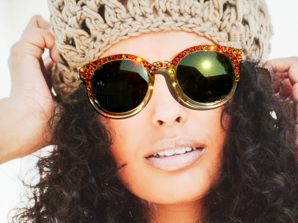 Orange-Yellow Bling Mirrored Sunglasses, Hippie Round Sunglasses