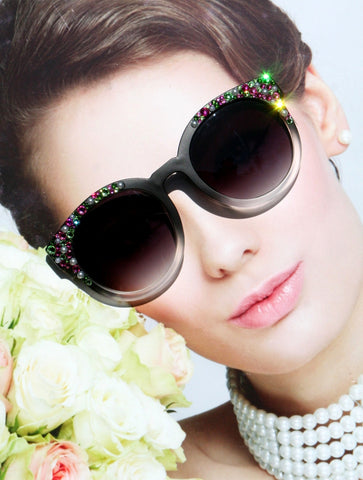 Black Round Sunglasses with Pearls and Pastel Pink and Green Crystals for Women, Matte Black Sunglasses