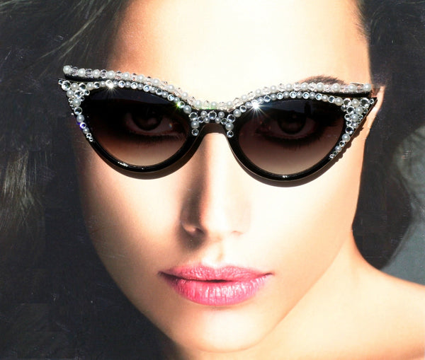 Diamonds & Pearls Cat Style Sunglasses, Cateye Sunglasses, Black Acrylic  Frames, Swarovski Crystals - Sunglass Shenanigans